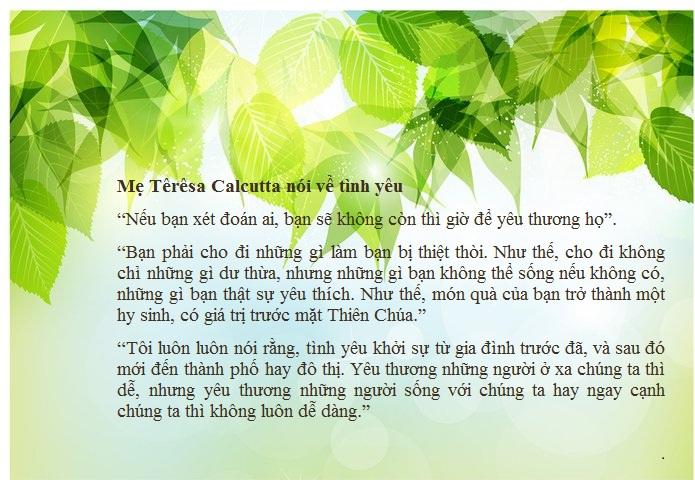 Mẹ Têrêsa Calcutta nói về tình yêu